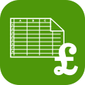 Spreadsheet icon on green background with large pound sign - green h can help you to prepare your quarter-end and year-end figures for your accountant