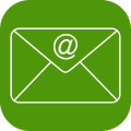 Icon of @sign in envelope indicating professional e-mail sevices - green h provides professional e-mail servces