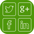 Icon containing logos for twitter, google+, facebook and linked in indicating social media - green h helps you to set up social media for effective social media marketing and engagement