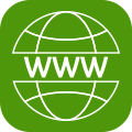 icon of www in globe indicating website - green h provides websites to meet your business needs