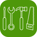 Icon of tools, indicating tradespeople - green h helps tradespeople to get found on-line and show their skils and expertise so customers who find them are confident enough to contact them.