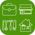 Icon containing four symbols - a briefcase indicating professionals, a shop front indicating small businesses, tools indicating tradespeople and a home office indicating home workers