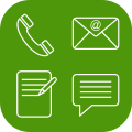 Icon containing phone, e-mail, form and text message - contact green h